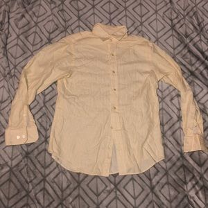 Yellow and White Men's Banana Republic Button Up